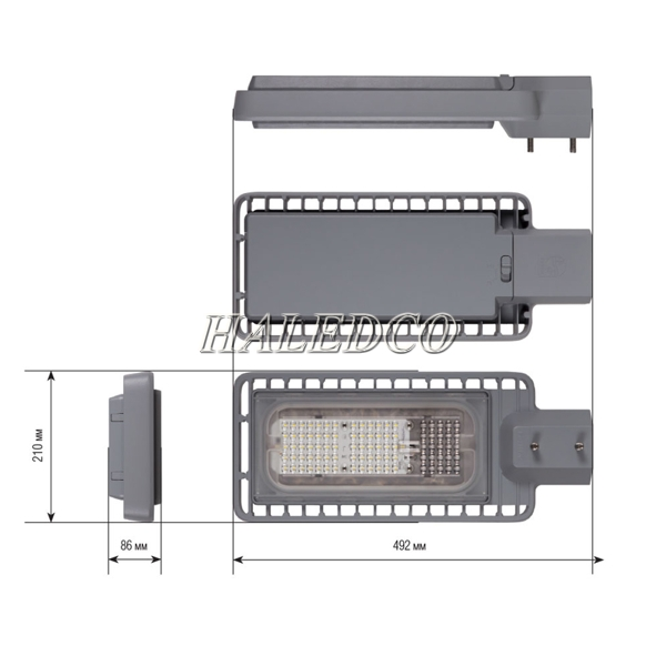 Cấu tạo thân đèn đường led HLS12-60 chip SMD