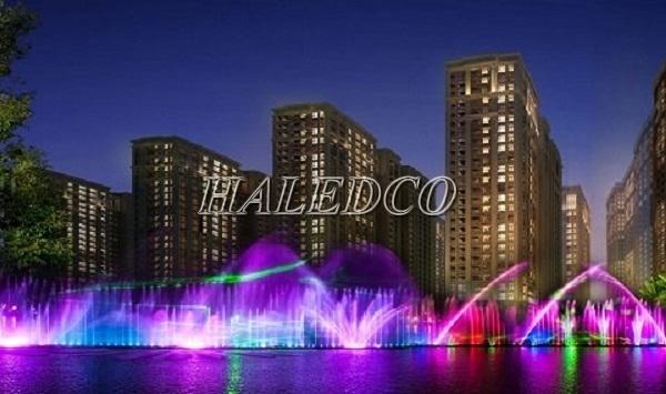 Ứng dụng đèn led âm nước HLUW1-18 RGB ánh sáng tím