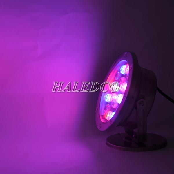 Đèn led dưới nước 18w đổi màu dạng đế HLUW1-18w RGB ánh sáng tím