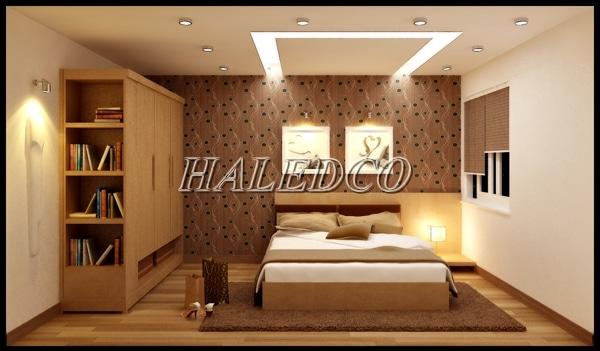 Ánh sáng trắng ấm chiếu sáng không gian phòng ngủ