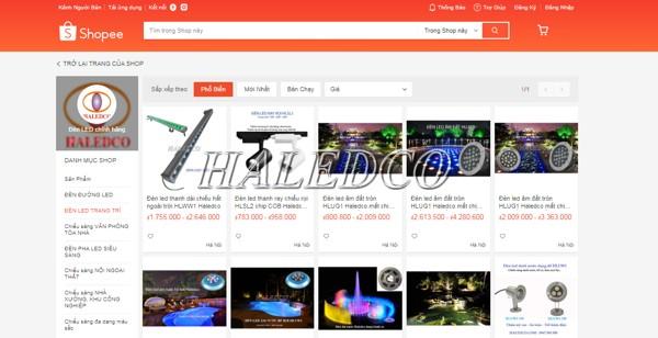 Shopee một trong các kênh bán hàng chính của đèn led dưới nước Haledco