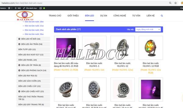 Danh mục đèn led dưới nước trên web Haledco