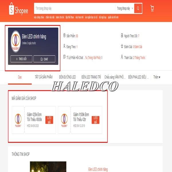 Hình ảnh kênh Haledco trên sàn thương mại điện tử shopee VN