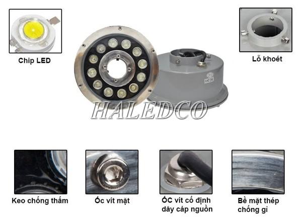 Đèn LED âm nước bánh xe với cấu tạo độc đáo