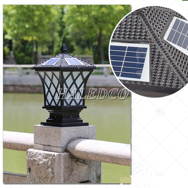 Đèn cổng trụ năng lượng mặt trời hình lưới cao cấp