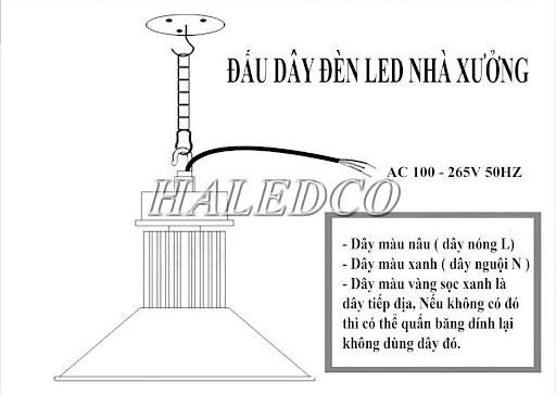 Cách 1: Đấu bóng đèn công nghiệp nhà xưởng