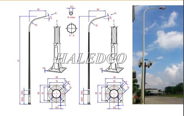 Bản vẽ kỹ thuật cột đèn bát giác liền cần đơn 8M