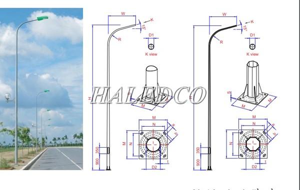Bản vẽ kỹ thuật của cột đèn tròn côn liền cần đơn 7M