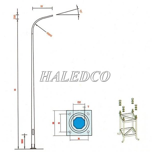 Cột đèn bát giác liền cần đơn 10M sử dụng khung móng M24