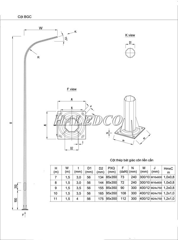 Cột đèn bát giác liền cần đơn 11M sử dụng khung móng M24