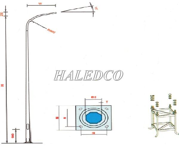 Cột đèn bát giác côn liền cần đơn 9M sử dụng khung móng M24