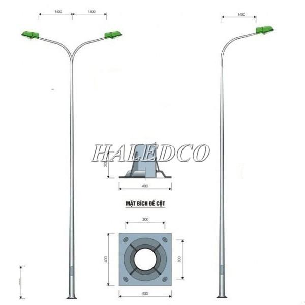 Đặc điểm chân đế của cột đèn bát giác liền cần đơn 9M