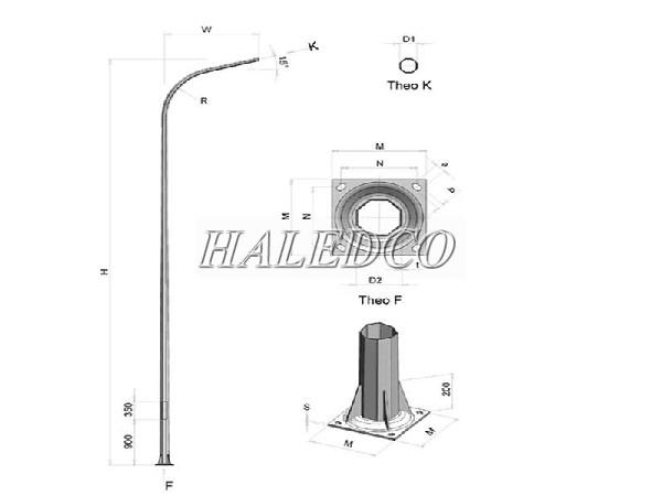 Đặc điểm chân đế của cột đèn bát giác liền cần đơn 6M