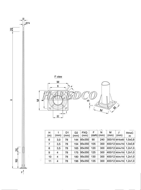 Bản vẽ kỹ thuật cột đèn thép bát giác côn 10M