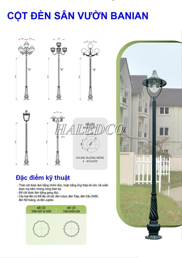 Bản vẽ kỹ thuật cột đèn sân vườn Banian
