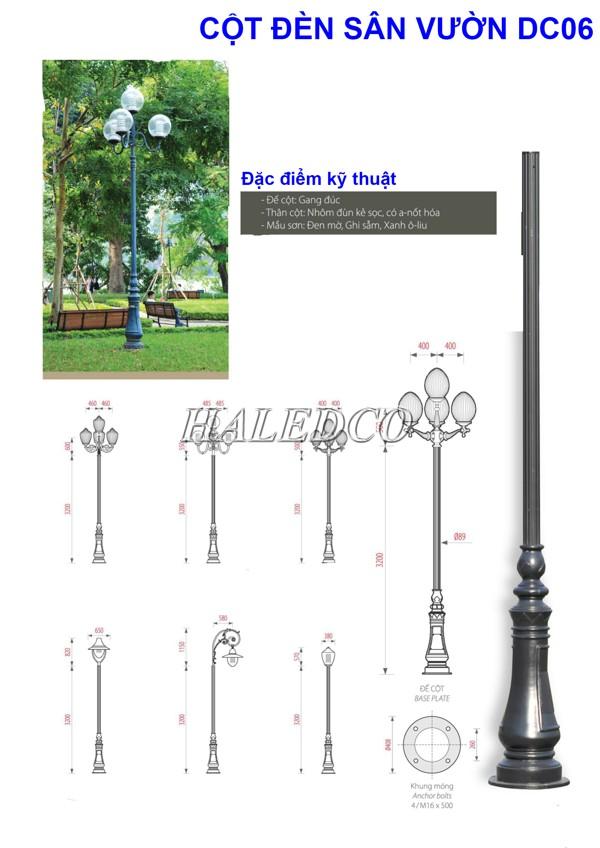 Bản vẽ kỹ thuật của cột đèn công viên DC06