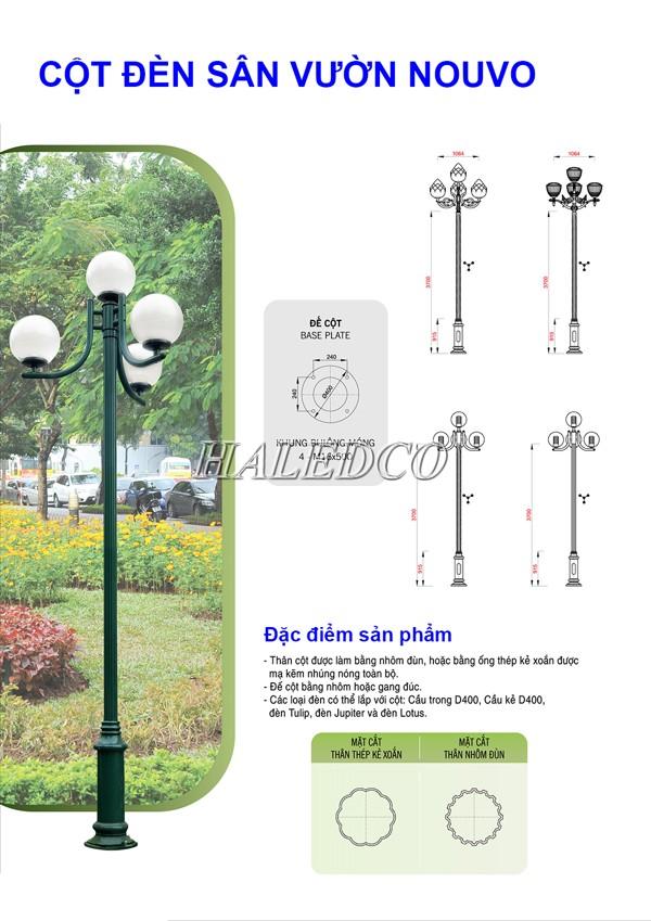 Bản vẽ kỹ thuật cột đèn sân vườn Nouvo