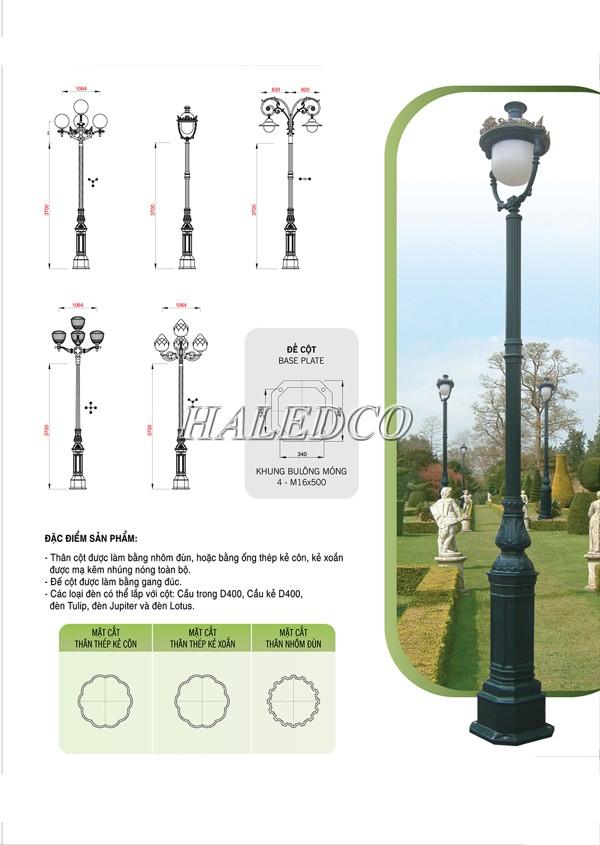 Bản vẽ kỹ thuật của cột đèn sân vườn DC05B