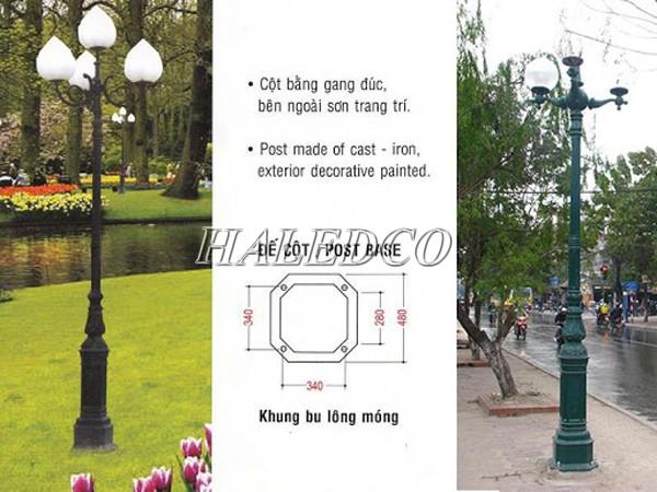 Cột đèn sân vườn DC05B sử dụng khung móng M16