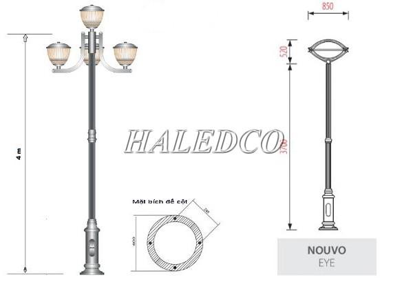 Cột đèn sân vườn Nouvo dùng khung móng M16