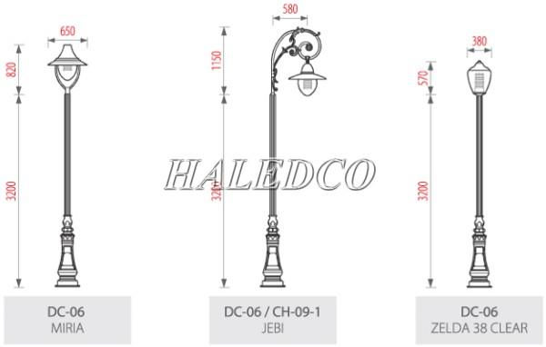 Một số kiểu dáng cột đèn DC06 sau khi lắp đèn LED