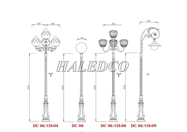 Một số kiểu dáng tay chùm lắp cho cột đèn DC06