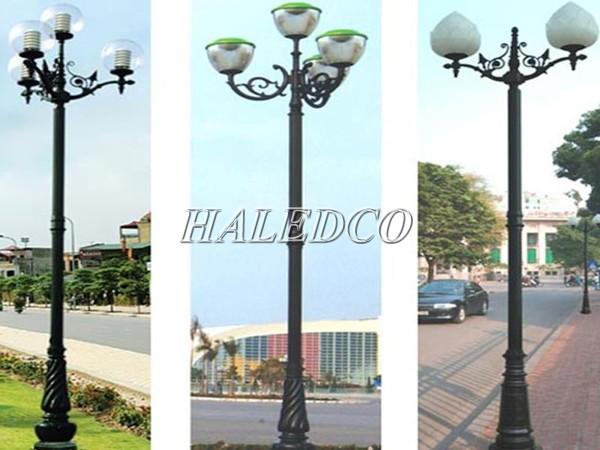Các kiểu dáng cột sân vườn Pine sau khi lắp tay chùm và đèn LED