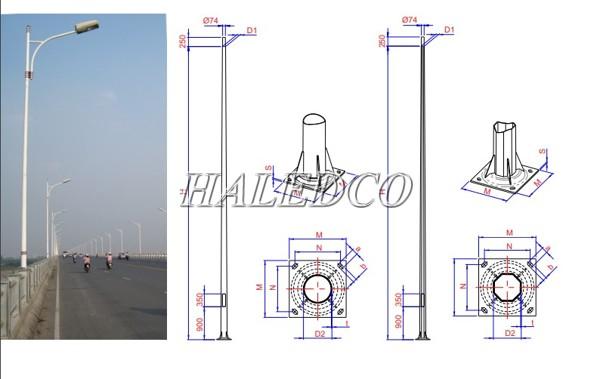 Bản vẽ kỹ thuật của cột đèn cao áp 14M