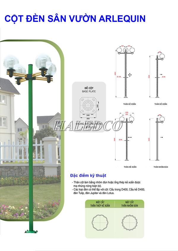 Bản vẽ kỹ thuật cột đèn sân vườn Arlequin