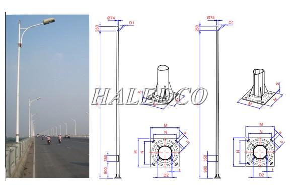 Bản vẽ kỹ thuật cột đèn thép tròn côn 11M