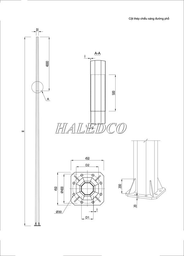 Kết cấu cột đèn cao áp 14M