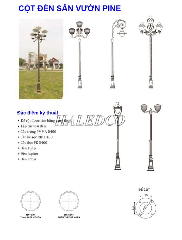 Bản vẽ kỹ thuật cột đèn sân vườn Pine