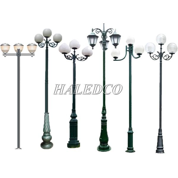 Một số kiểu dáng cột đèn sân vườn 3 bóng phổ  biến