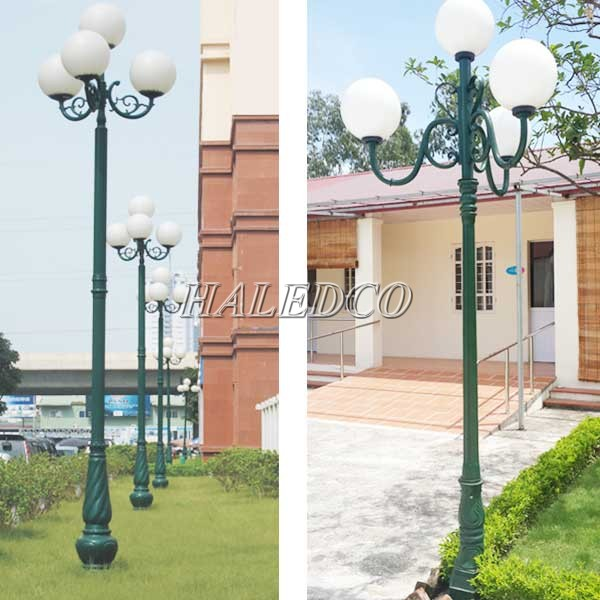 Cột đèn trang trí 4 bóng lắp trong khuôn viên