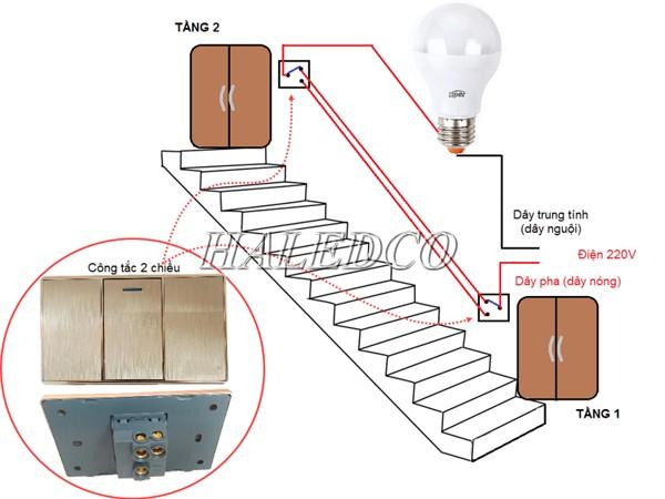 Lắp đặt đèn cầu thang 2 tầng