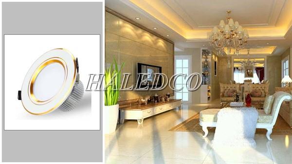 Đèn LED âm trần viền vàng đế dày và ứng dụng thực tế