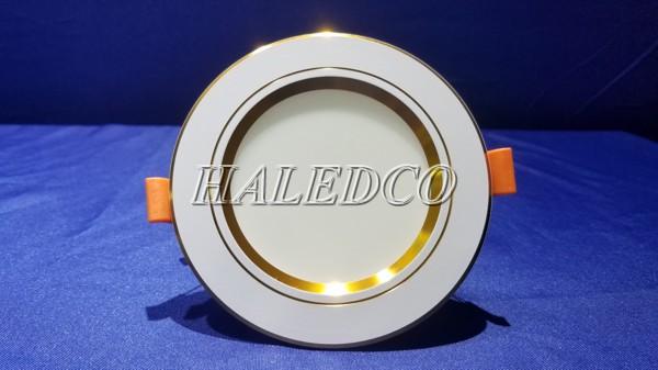 Đèn LED âm trần viền vàng 9w đơn sắc