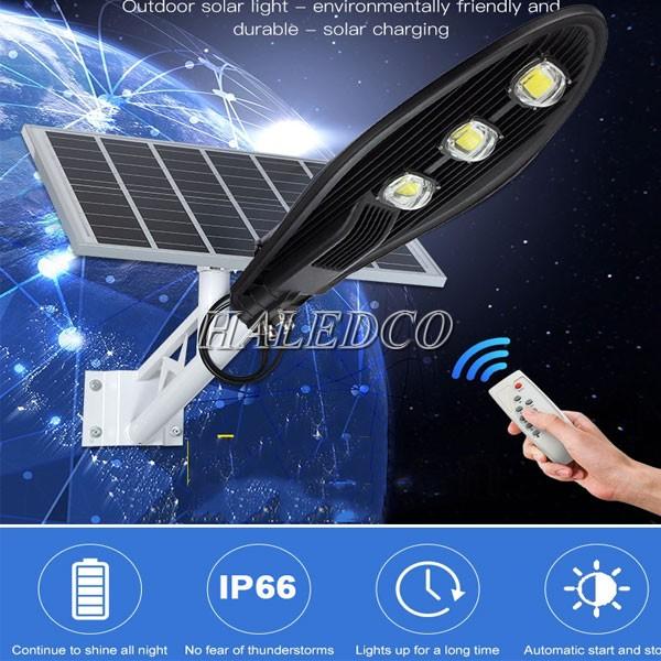 Đèn LED đường năng lượng mặt trời 150w HLSNLMT3-150 tích hợp sử dụng điều khiển ánh sáng